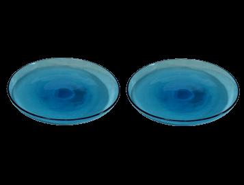 assiettes plates turquoise en verre souffl comptoir azur. Black Bedroom Furniture Sets. Home Design Ideas