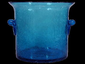 Seau à champagne en verre soufflé turquoise 3