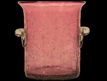 Mini seau à glace verre soufflé rose 2