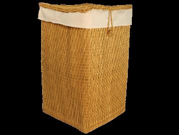 Panier à linge en jonc et coton