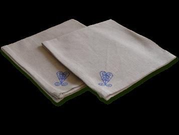 Serviettes de table coton bleu turquoise comptoir azur - Serviette de table bleu roi ...
