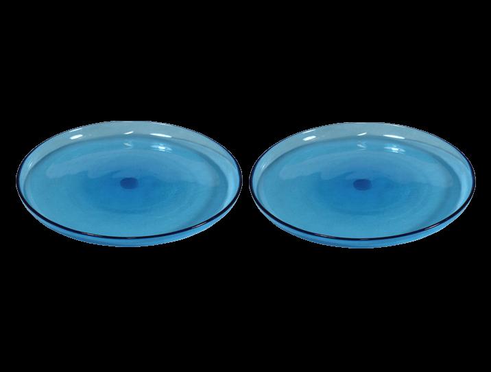 Assiettes plates turquoise en verre souffl comptoir azur - Bureau en verre transparent ...