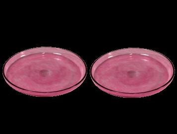 assiettes plates verre soufflé rose