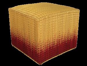 Pouf tressé cube jonc motif ikat rouge Comptoir Azur
