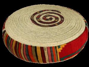 cadeau artisanat pouf rond kilim et palme