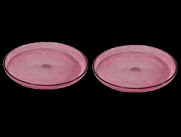 assiettes verre souffle dessert rose