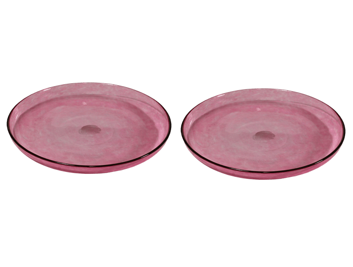 assiettes en verre souffl rose pour le dessert par deux. Black Bedroom Furniture Sets. Home Design Ideas