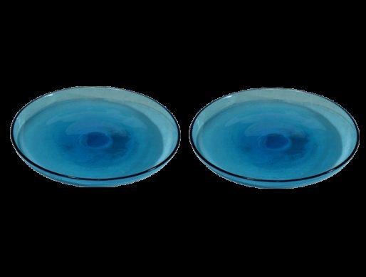 assiettes verre souffle dessert turquoise