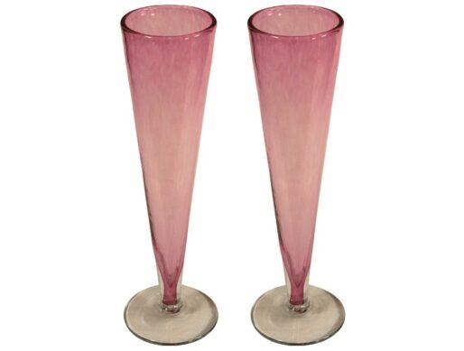 flutes champagne sans pied verre soufflé rose
