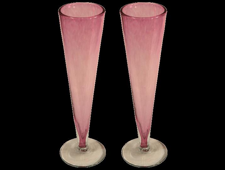 fl tes champagne sans pied en verre souffl rose originales et color es. Black Bedroom Furniture Sets. Home Design Ideas