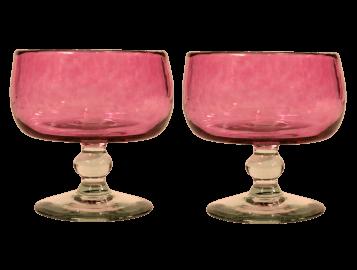 coupelles en verre soufflé rose