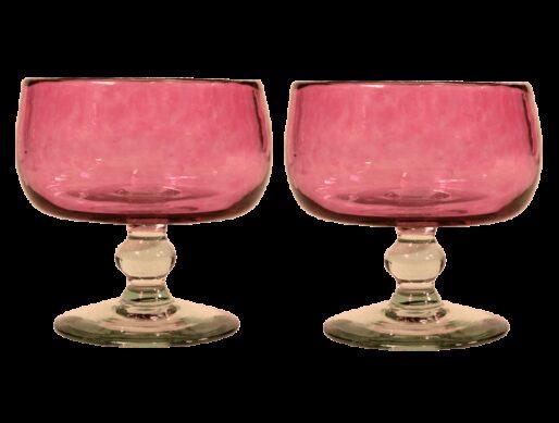 coupelles verre souffle rose