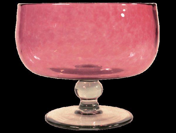 Saladier en verre soufflé rose
