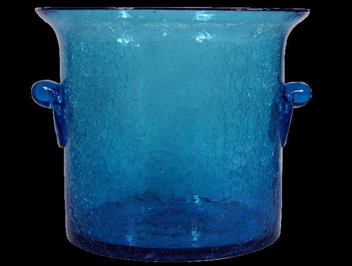 seau champagne en verre souffle bleu turquoise 3