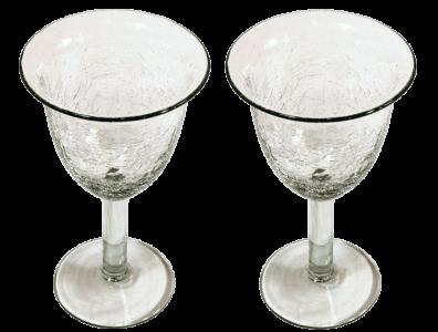 verres à vin tulipe verre soufflé craquelé 2