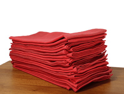 serviettes de table coton rouge