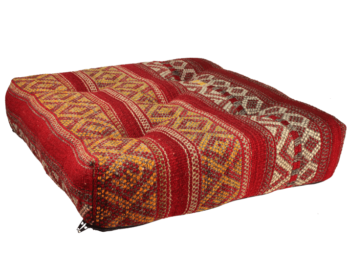 pouf kilim rouge produit artisanal. Black Bedroom Furniture Sets. Home Design Ideas