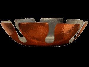grande corbeille à pain en cuivre étamé martelé