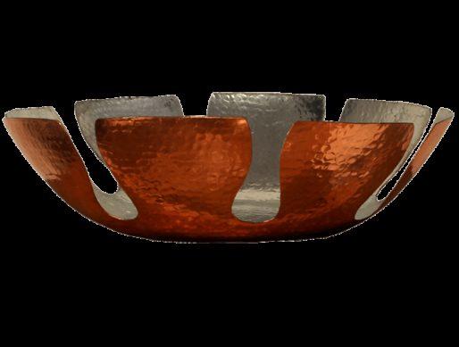 corbeille a pain en cuivre martele et etame grand modele 3