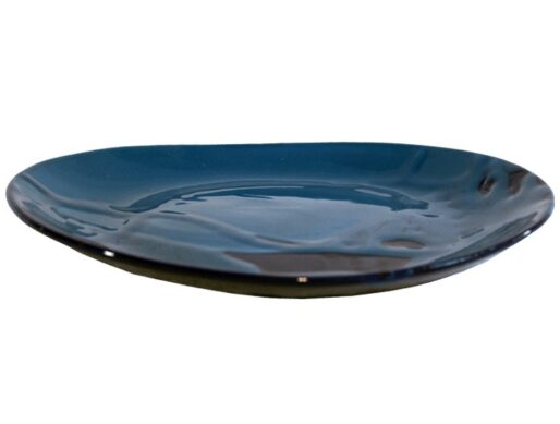assiettes plates ovales terre cuite emaillee bleu