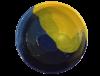 saladier terre cuite emaillee jaune et bleue grand