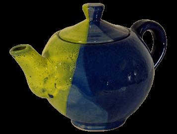 théière en terre cuite émaillée jaune et bleue