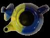 theiere ceramique emaillee jaune bleue 2
