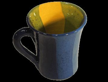 mugs originaux en terre cuite émaillée jaune et bleue