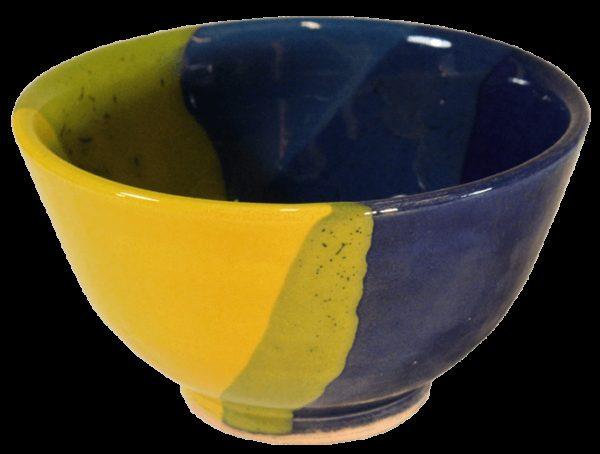 coupelles apero terre cuite emaillee jaune bleue