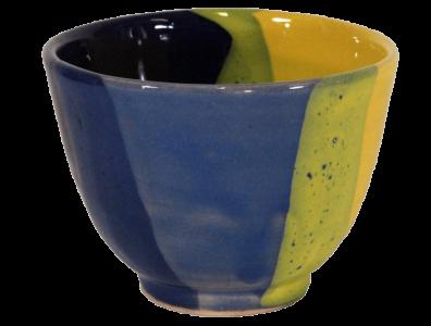 tasses the terre cuite emaillee bleue jaune vendues par deux