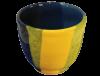 gobelet café en céramique émaillée jaune et bleu