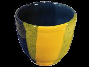petits déjeuners tasses à café en terre cuite émaillée jaune et bleu