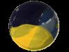 sous tasses en ceramique emaillee jaune et bleu