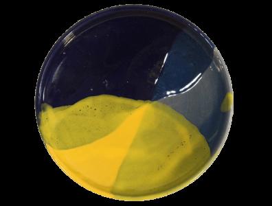 soucoupes en terre cuite emaillee jaune et bleu