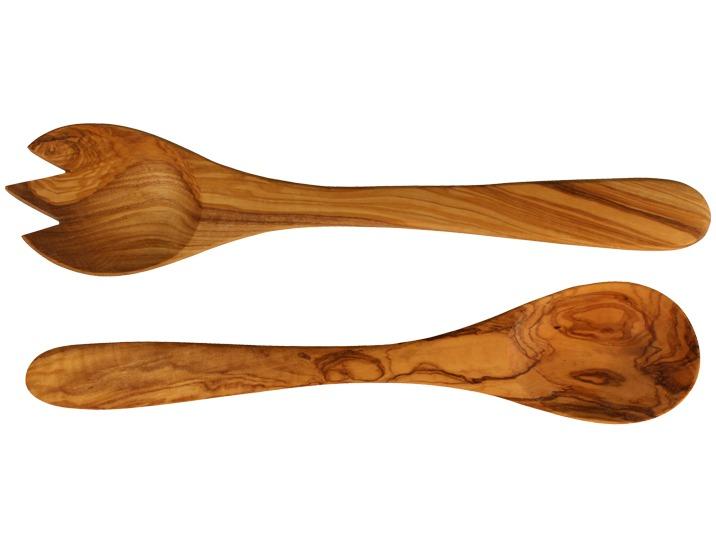Ustensile bois Faits à la main Couverts à salade en bois d'olivier