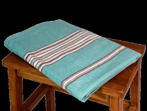 nappe en coton carrée bleu turquoise 2
