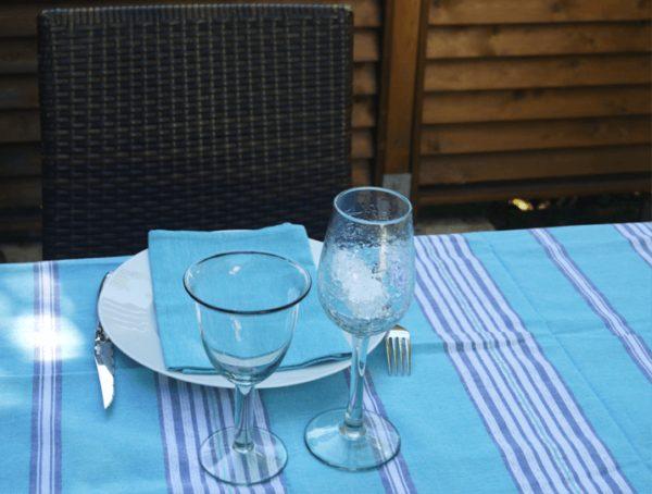 nappe en coton bleu turquoise rectangulaire