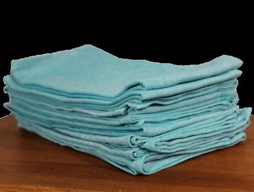 serviettes de table coton bleu turquoise