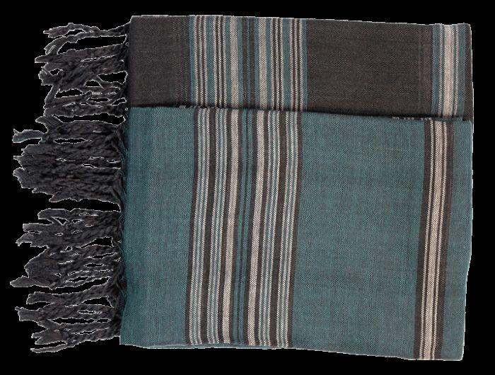 echarpe cheche noir et vert coton raye