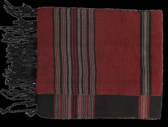 echarpe rouge coton raye