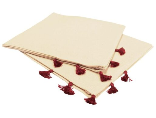 serviettes de table coton pompons rouges