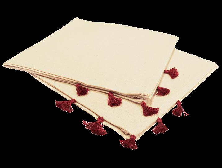 serviettes de table coton pompons rouges par deux simples et d licates. Black Bedroom Furniture Sets. Home Design Ideas