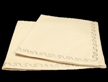 serviettes de table coton brodé argent