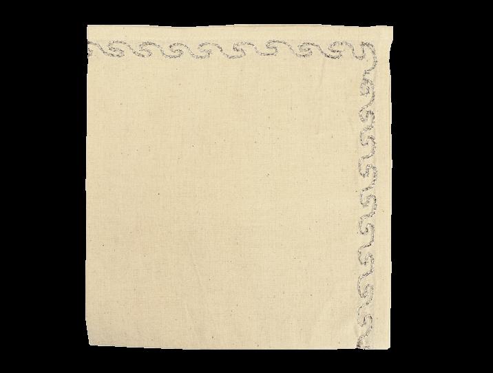 serviettes de table coton brod es argent de la couleur naturelle du coton. Black Bedroom Furniture Sets. Home Design Ideas