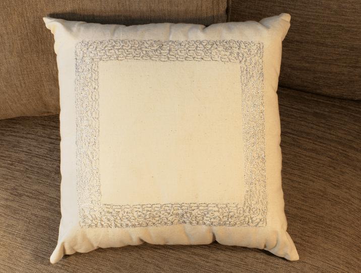 Coussin décoratif en coton, brodé argent - Produit Artis on