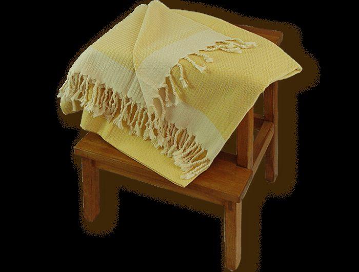 Fouta jaune unie petits chevrons 3