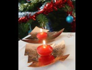 photophores sapins cuivre martelé cadeau de noel