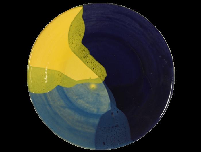 Assiette de présentation en terre cuite jaune et bleu