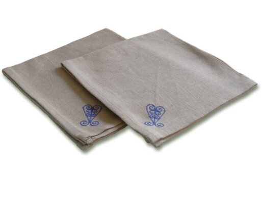 serviettes de table en tissu lin brodé arabesque bleu 3