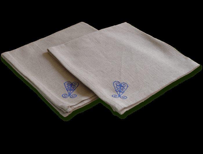 Serviettes de table en tissu lin brod arabesque bleue - Serviettes de table en tissu ...